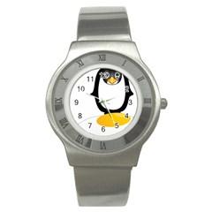 Linux Tux Pengion Oops Stainless Steel Watch (slim)