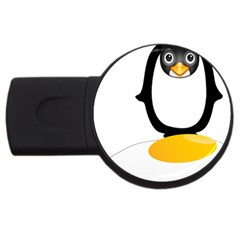 Linux Tux Pengion Oops 4gb Usb Flash Drive (round)