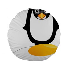Linux Tux Pengion Oops 15  Premium Round Cushion