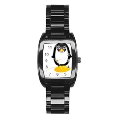 Linux Tux Pengion Oops Stainless Steel Barrel Watch