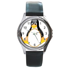 LINUX TUX PENGUINS Round Leather Watch (Silver Rim)
