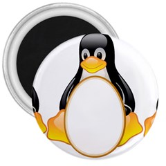 Linux Tux Penguins 3  Button Magnet