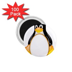Linux Tux Penguins 1 75  Button Magnet (100 Pack)