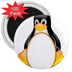 Linux Tux Penguins 3  Button Magnet (100 Pack)