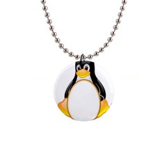Linux Tux Penguins Button Necklace