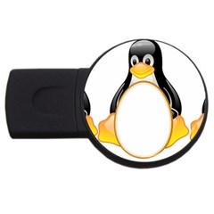 LINUX TUX PENGUINS 4GB USB Flash Drive (Round)