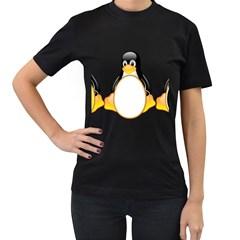 LINUX TUX PENGUINS Womens' T-shirt (Black)