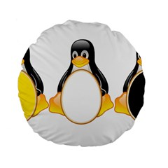 LINUX TUX PENGUINS 15  Premium Round Cushion