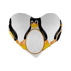 Linux Tux Penguins 16  Premium Heart Shape Cushion
