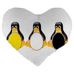 LINUX TUX PENGUINS 19  Premium Heart Shape Cushion
