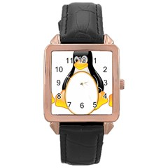LINUX TUX PENGUINS Rose Gold Leather Watch