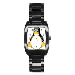 LINUX TUX PENGUINS Stainless Steel Barrel Watch