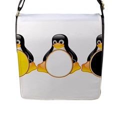 LINUX TUX PENGUINS Flap Closure Messenger Bag (Large)