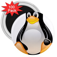 CRYSTAL LINUX TUX PENGUIN  3  Button Magnet (100 pack)