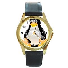 CRYSTAL LINUX TUX PENGUIN  Round Leather Watch (Gold Rim)