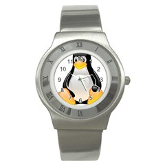 CRYSTAL LINUX TUX PENGUIN  Stainless Steel Watch (Slim)