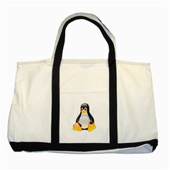CRYSTAL LINUX TUX PENGUIN  Two Toned Tote Bag
