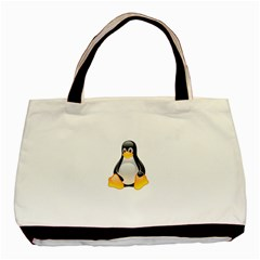CRYSTAL LINUX TUX PENGUIN  Twin-sided Black Tote Bag