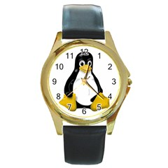 LINUX TUX CONTRA SIT Round Leather Watch (Gold Rim)