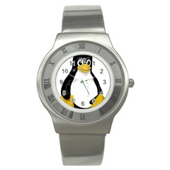 LINUX TUX CONTRA SIT Stainless Steel Watch (Slim)