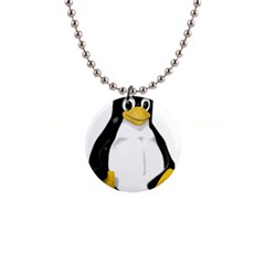 LINUX TUX CONTRA SIT Button Necklace