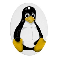 Linux Tux Contra Sit Oval Ornament (two Sides)
