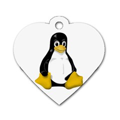 LINUX TUX CONTRA SIT Dog Tag Heart (Two Sided)