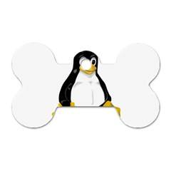 Linux Tux Contra Sit Dog Tag Bone (two Sided)