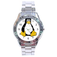LINUX TUX CONTRA SIT Stainless Steel Watch