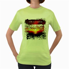 Life Is A Canvas Womens  T Shirt (green)