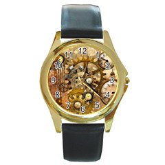 Steampunk Round Leather Watch (Gold Rim)