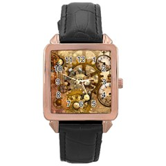Steampunk Rose Gold Leather Watch