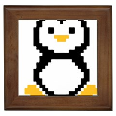 Pixel Linux Tux Penguin Framed Ceramic Tile