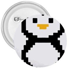 Pixel Linux Tux Penguin 3  Button