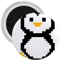 Pixel Linux Tux Penguin 3  Button Magnet
