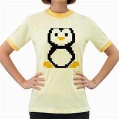 Pixel Linux Tux Penguin Womens  Ringer T-shirt (Colored)