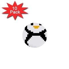Pixel Linux Tux Penguin 1  Mini Button (10 pack)