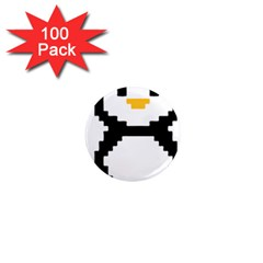 Pixel Linux Tux Penguin 1  Mini Button Magnet (100 pack)