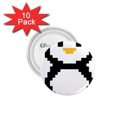 Pixel Linux Tux Penguin 1.75  Button (10 pack)