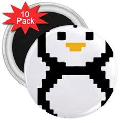 Pixel Linux Tux Penguin 3  Button Magnet (10 pack)