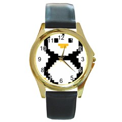 Pixel Linux Tux Penguin Round Leather Watch (Gold Rim)