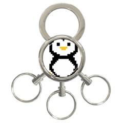 Pixel Linux Tux Penguin 3-Ring Key Chain