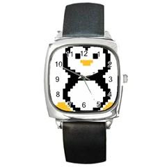 Pixel Linux Tux Penguin Square Leather Watch
