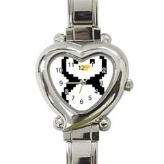 Pixel Linux Tux Penguin Heart Italian Charm Watch