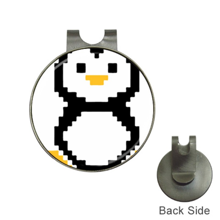 Pixel Linux Tux Penguin Hat Clip with Golf Ball Marker