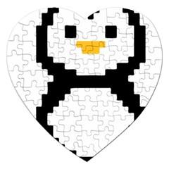 Pixel Linux Tux Penguin Jigsaw Puzzle (Heart)