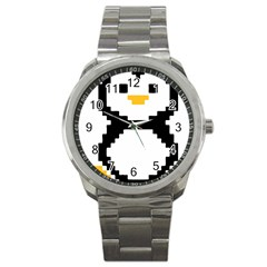 Pixel Linux Tux Penguin Sport Metal Watch
