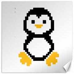 Pixel Linux Tux Penguin Canvas 16  x 16  (Unframed)