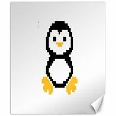 Pixel Linux Tux Penguin Canvas 20  x 24  (Unframed)