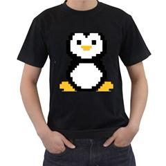 Pixel Linux Tux Penguin Mens' T Shirt (black)